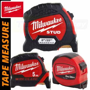 Milwaukee Tape Measures - 5m / 7.5m / 8m Magnetic / STUD / Pro / Slimline / Wide