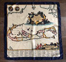 Vintage Liberty Of London Bermuda Map Silk Scarf