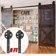 8FT Sliding Barn Door Hardware Roller Steel Track Rail Kit Home Closet Set Black