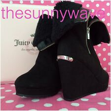 Juicy Couture Fold-Over Platform Wedge Kasia Zipper Onyx Ankle Boots Booties 9.5