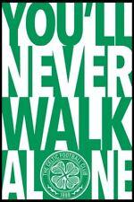 CELTIC FOOTBALL CLUB ~ NEVER WALK ALONE ~ LOGO ~ 24x36 Poster ~ UEFA ~ NEW!