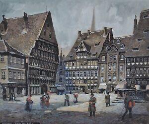 Frankfurt Altstadt - Gouache um 1920 - Kurt Schulze (*1877 - ?)