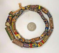 VINTAGE Millefiori Glass Beads Old Antique Gemstone Natural Women Round Necklace
