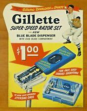 "Vintage 1940's-50's Gillette Baseball Stand Up Ad 8"" x 10.5"""