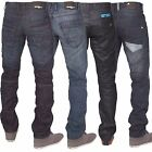 New Mens ENZO Designer Coated Blue Black Straight Fit Jeans Pants All Waist Size
