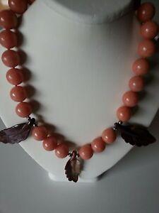 Peach  Aventurine, Jade Statement  Necklace