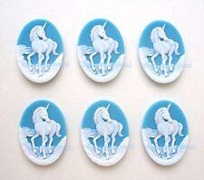 6 new WHITE UNICORN on BABY BLUE 25mm x 18mm Costume Jewelry CAMEOS DIY Crafts