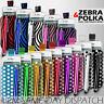 LEATHER POLKA & ZEBRA PULL TAB CASE POUCH + STYLUS FOR VARIOUS BLACKBERRY PHONES