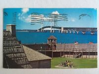 Vintage Fort Michilimackinac Postcard Mackinaw City Michigan Mackinac Bridge