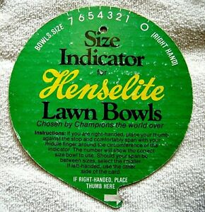 LAWN BOWLS SIZE INDICATOR by HENSELITE