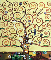 Tree Of Life Garden Of Eden Klimt Repro 20X24 Oil On Canvas Painting STRETCHED