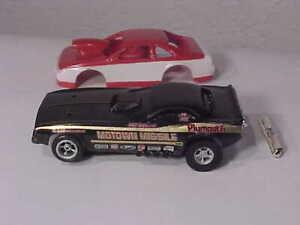 """AFX 70 Ply Cuda Funnycar """"Motown Missile"""" & ProStk TBird HO Slot Car Bodies"""