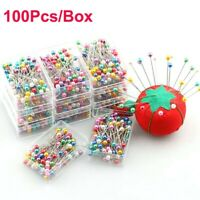 100X Round Pearl Head Dressmaking Pins Weddings Corsage Florists Sewing Pin UK