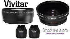 2Pc HD 2.2x Telephoto & Wide Angle Lens Set For Panasonic Lumix DMC-FZ45 DMCFZ40