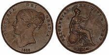 1858/7 8 over 7 Victoria penny copper coin of Great Britain