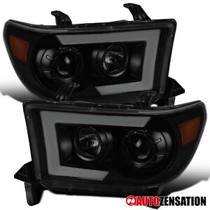 For 2007-2013 Tundra Sequoia Switchback LED DRL Black Smoke Projector Headlights
