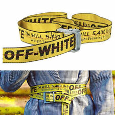 2018 Off White Tie Down Yellow Nylon Cotton Big IRON Head Industrial Belt 200CM