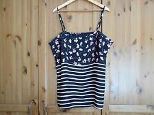 NEXT - Gorgeous Black with Pink Flowers Stripes Top - size 20   *ONLY WORN ONCE*