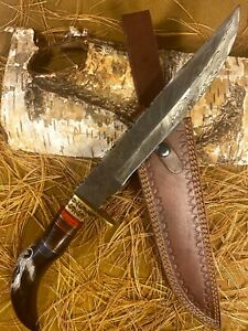 LOUIS MARTIN CUSTOM HANDMADE DAMASCUS HUNTING BOWIE KNIFE BULL HORN SCRIMSHAW