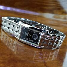 New Mens POLO Polished Steel Rectangle Hampton Curvex Watch Beverly Hills Polo