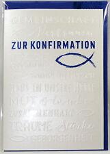 Glückwunschkarte*Zur Konfirmation*Fisch Schriftzüge Grußkarte m. Prägung Ichthys