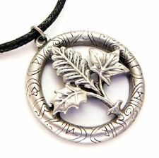 Greenwood Tree Runes Oak Holly Ivy Leaf Amulet Pendant Necklace Pewter GW07