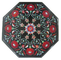 "12"" Black Marble Coffee Table Top Carnelian Marquetry Floral Inlay Decor H326"