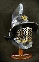 Medieval SCA LARP Gladiator Helmet III Brass Halloween Armor Helmet With Stand