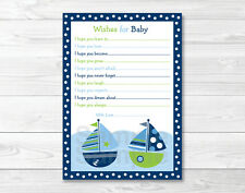 Sail Away Nautical Sailboat Printable Baby Shower Wishes for Baby Advice Cards