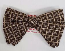 NOS Vintage Mens Bow Tie Clip On NeckTie Brocade Brown Career Professional New