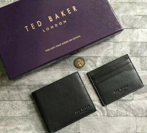TED BAKER BLACK LEATHER OWLY WALLET & CARDHOLDER SET BNIB