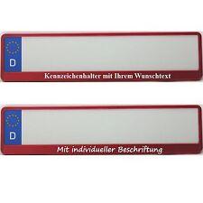 2 Kennzeichenhalter ROT hochglanz mit Wunschtext Beschriftung Werbung NEU
