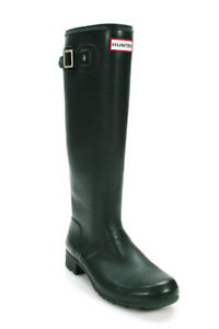 Hunter Womens Knee High Round Toe Rubber Rainboots Forest Green tall Size 8