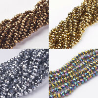 """10 Strands Faceted Abacus Electroplate Glass Beads Strands 6x4mm Hole 1mm 14"""""""
