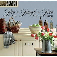 New Black LIVE Well LAUGH Often LOVE Much WALL DECALS Room Stickers Home Decor