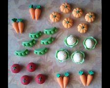 28 Fondant Gardening Harvest Vegetable Cupcake Topper - 28 Assorted Vegetable