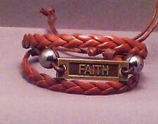 FAITH Bracelet ANTIQUED Facing MULTI BRAID Design BROWN Christian LOW STOCK!