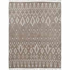 Natural Dye Moroccan Tribal Hand-Knotted Area Rug Geometric Oriental Carpet 8x10