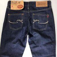 BNWT Ladies Replay WV545 slim bootcut DARK Blue Jeans W26 L32 (726e)