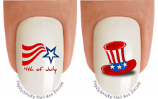 Nail Art #703J July 4th Flag Uncle Sam Hat Waterslide Nail Decals Transfers