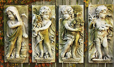 Four Seasons Garden Wall Sculpture Art Decor Set of 4 by Orlandi-Faux Stone