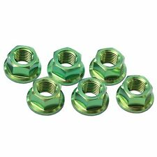 6x Kawasaki ZRX1200 R/S 2002-2007 Green M10x 1.25 Titanium Rear Sprocket Nuts