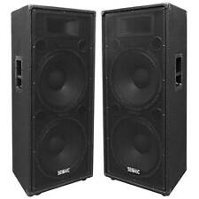 "Pair of Dual 15"" PA/DJ Speaker Cabinets with Titanium Horns Wheel Kit and Handle"