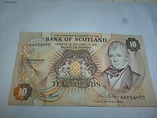 "1981 Bank of Scotland £10 Ten Pounds--- Early Prefix ""AA"" 054067"