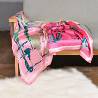"100% Silk Scarf Women's Pink Fashion Hijab Printed Head Shawl Wraps 43""*43"""