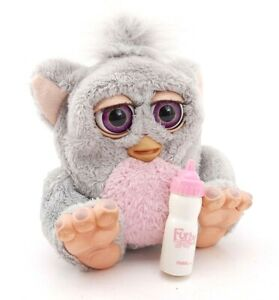 Baby Furby Pink Tummy Gray Hair Purple Eyes Tested Works Vintage Toy 2005 FRENCH