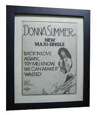DONNA SUMMER+Back In Love+RARE ORIGINAL 1978 POSTER AD+FRAMED+FAST GLOBAL SHIP