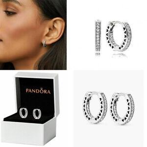 Genuine Pandora Hoop Earrings Stub 925 Sterling Silver Xmas Gift Box - 296317CZ