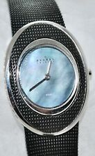 Mop Dial Swarovski Crystal Sides 548Ssbd Skagen Women's Black Mesh Watch Blue