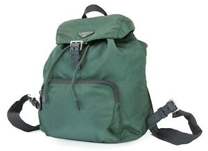 Authentic PRADA Dark Green Nylon and Leather Backpack Bag Purse #40295